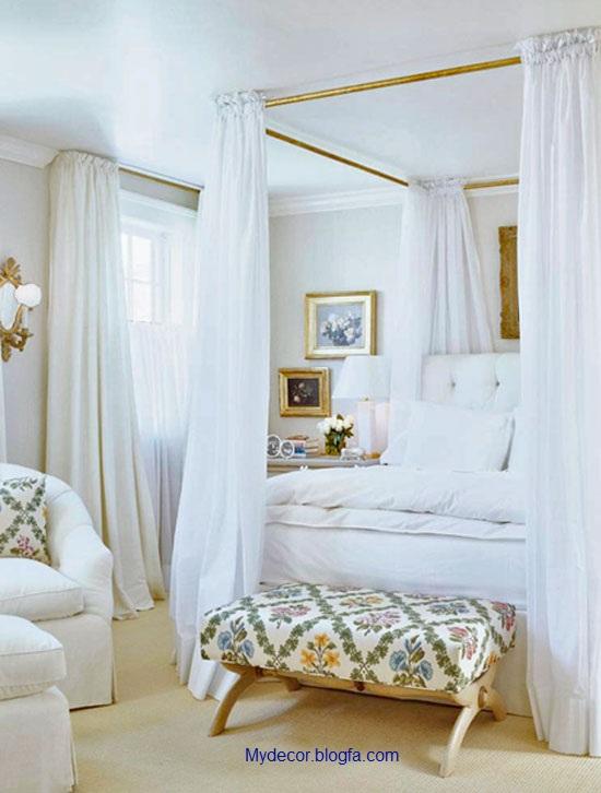 معماری داخلی اتاق خواب به سبک سفید برفی